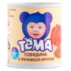 Пюре мясное ТЁМА 100г ж/б говядина с гречн.крупой